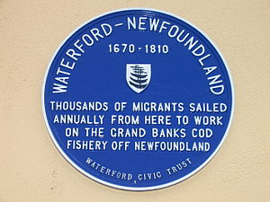 English: Plaque in Waterford, Ireland honoring .